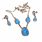 EDWARDIAN REVIVAL 14K Gold & Larimar Demi-Parure - Necklace & Earrings!