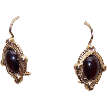 Victorian Revival 14K Gold & 2 CT TW Garnet Cab Earrings!