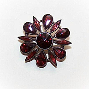 ANTIQUE VICTORIAN Gilt Brass & Bohemian Garnet Pin/Brooch!