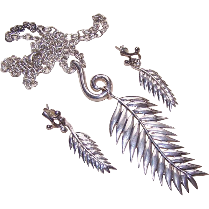 Vintage STERLING SILVER Demi-Parure - Necklace & Matching Earrings by Barse!