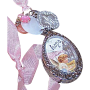 ONE OF A KIND Handmade HOPE/LOVE Pink Angel Necklace or Ornament!