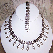 Vintage Middle Eastern STERLING SILVER Demi-Parure - Necklace & Bracelet!