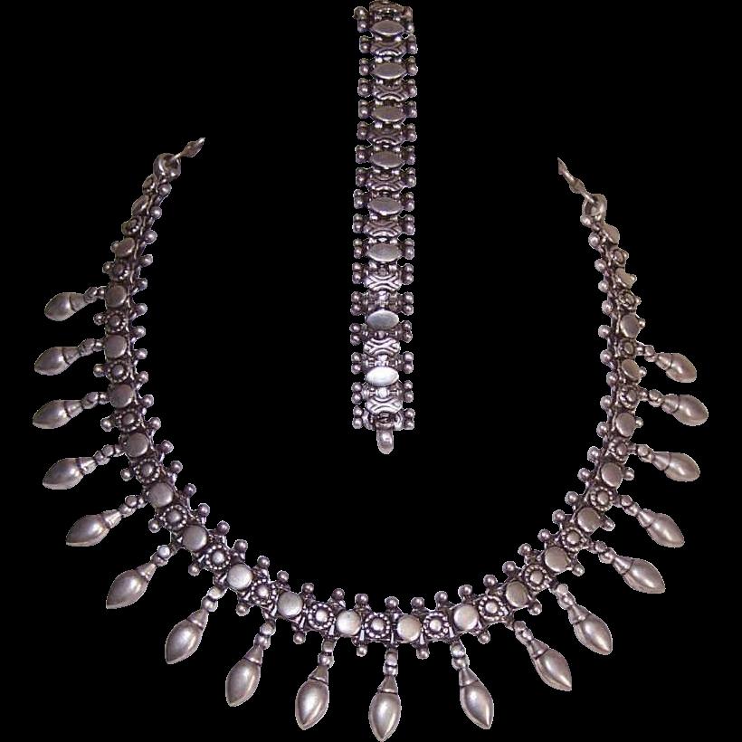 Vintage Middle Eastern STERLING SILVER Demi-Parure - Necklace & Bracelet!