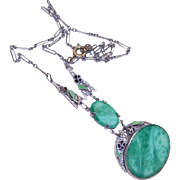 Stunning ART DECO Rhodium, Enamel & Peking Glass Necklace!