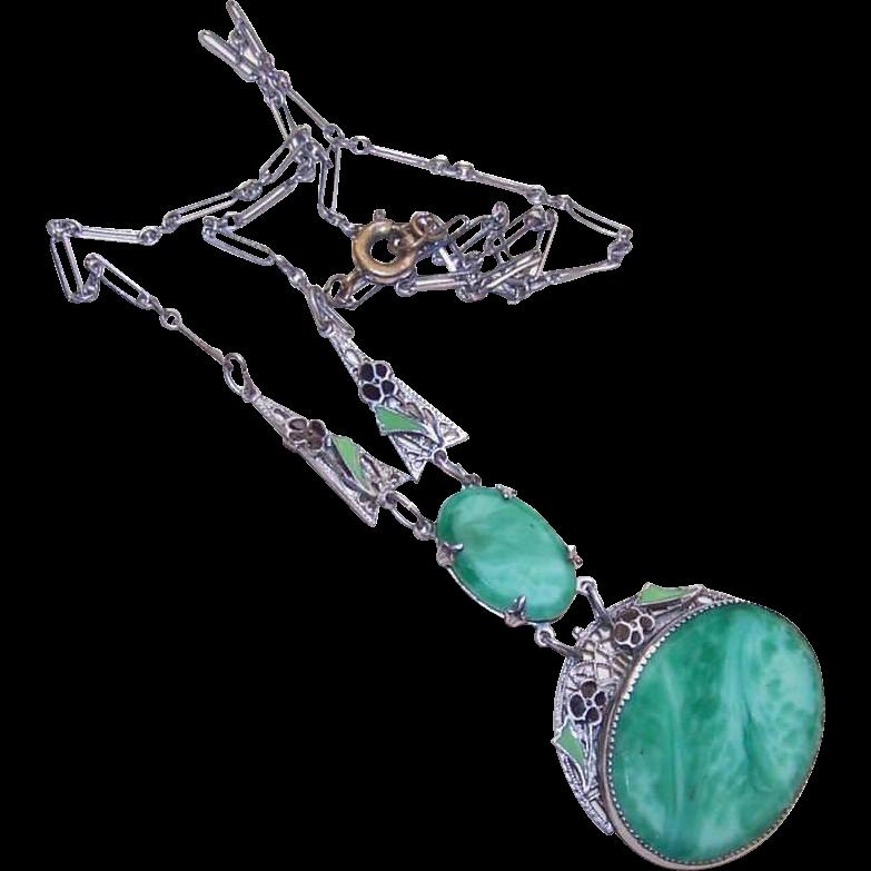 Stunning ART DECO Rhodium, Enamel & Peking Glass Necklace!
