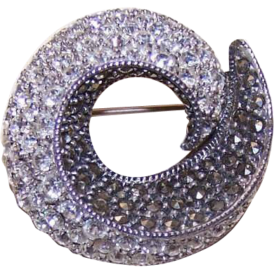 Vintage STERLING SILVER, Marcasite & Rhinestone Swirl Pin/Brooch!