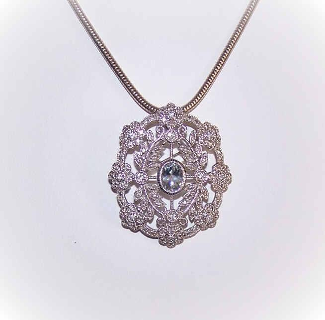Edwardian Revival STERLING SILVER, Aquamarine & Cubic Zirconia Pin/Pendant Combo!