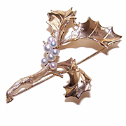 Stunning CUSTOM MADE 14K Gold & Cultured Pearl Pin/Brooch - A Sprig of Holly!