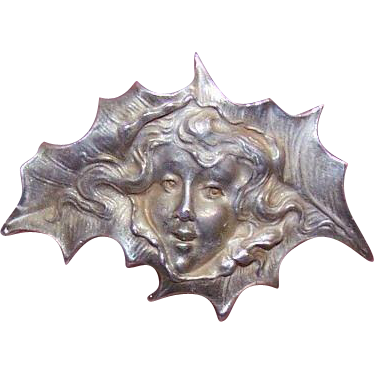 Wonderful ART NOUVEAU Sterling Silver Pin - Holly Leaf Lady!