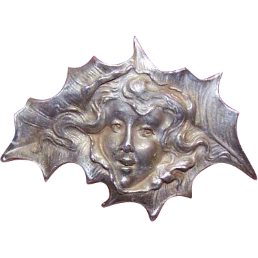 Wonderful ART NOUVEAU Sterling Silver Pin - Holly Leaf Lady!