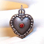 Rare 1940s STERLING SILVER Puffy Heart Locket Charm with Red Rhinestone!