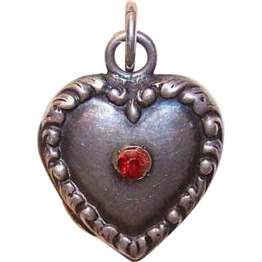 RARE Vintage Sterling Silver Puffy Heart Charm - Locket with Red Rhinestone