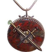 Vintage STERLING SILVER, 14K Gold & Multi-Gemstone Scottish Agate Pendant by James Cleland!