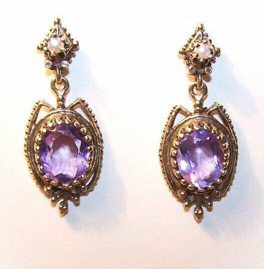 Scrumptious VICTORIAN REVIVAL 14K Gold & 6 CT TW Amethyst Drop Earrings!