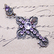 Antique FRENCH Silverplate & Amethyst Paste Filigree Cross Pendant!