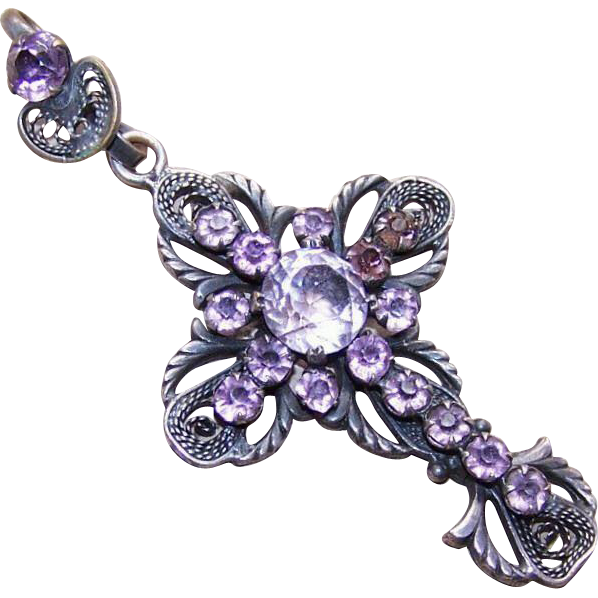 Antique FRENCH Religious Silverplate & Amethyst Paste Filigree Cross Pendant