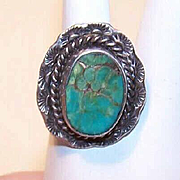 Vintage Native American STERLING SILVER & Turquoise Ring!