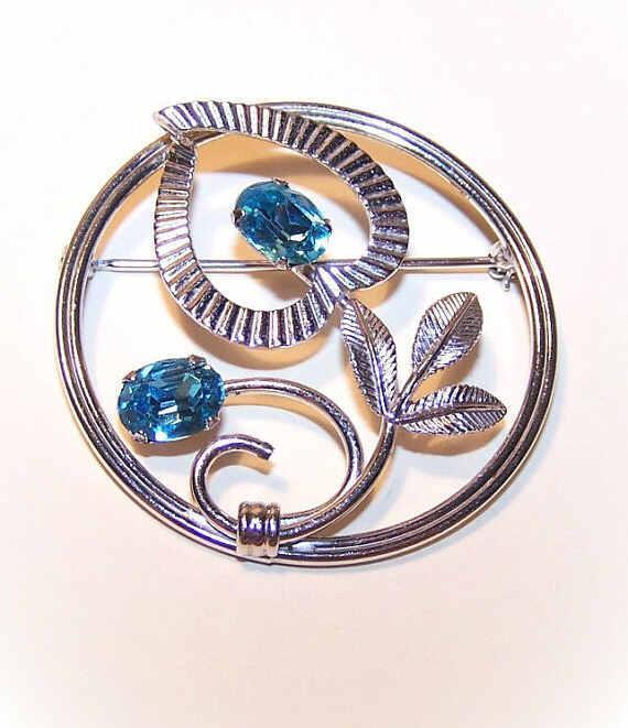 1950s STERLING SILVER & Blue Rhinestone Pin by Van Dell!