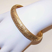 ANTIQUE EDWARDIAN Gold Filled Repousse Bangle Bracelet - Double Hinge!