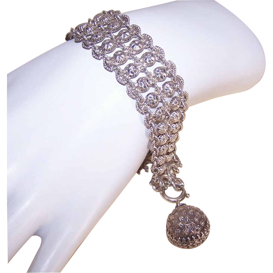 FRENCH Antique Edwardian 800/900 Silver Bracelet with Breloque (Fob Charm)!