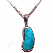 Vintage Native American/Southwestern STERLING SILVER & Turquoise Pendant!