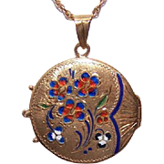 Fan-Like Victorian Revival 14K Gold & Enamel LOCKET PENDANT!