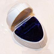 ART DECO Cream Celluloid, Velvet & Satin Ring Box!