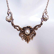 Vintage SYMMETALIC 14K Gold & Sterling Silver Necklace!