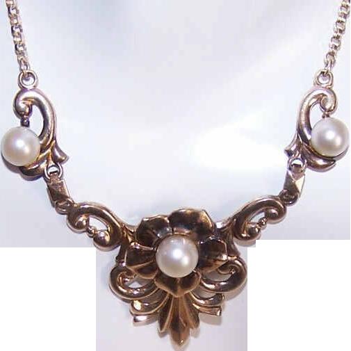 Vintage SYMMETALIC 14K Gold & Sterling Silver Necklace!