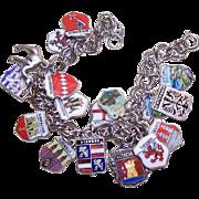 Vintage STERLING SILVER SOUVENIR Travel Shield Charm Bracelet - 17 Silver & Enamel Charms!