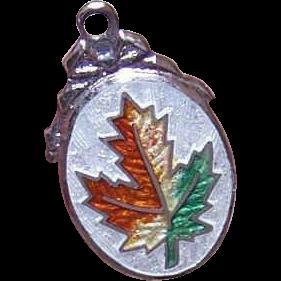 Vintage STERLING SILVER & Enamel Charm - Maple Leaf!