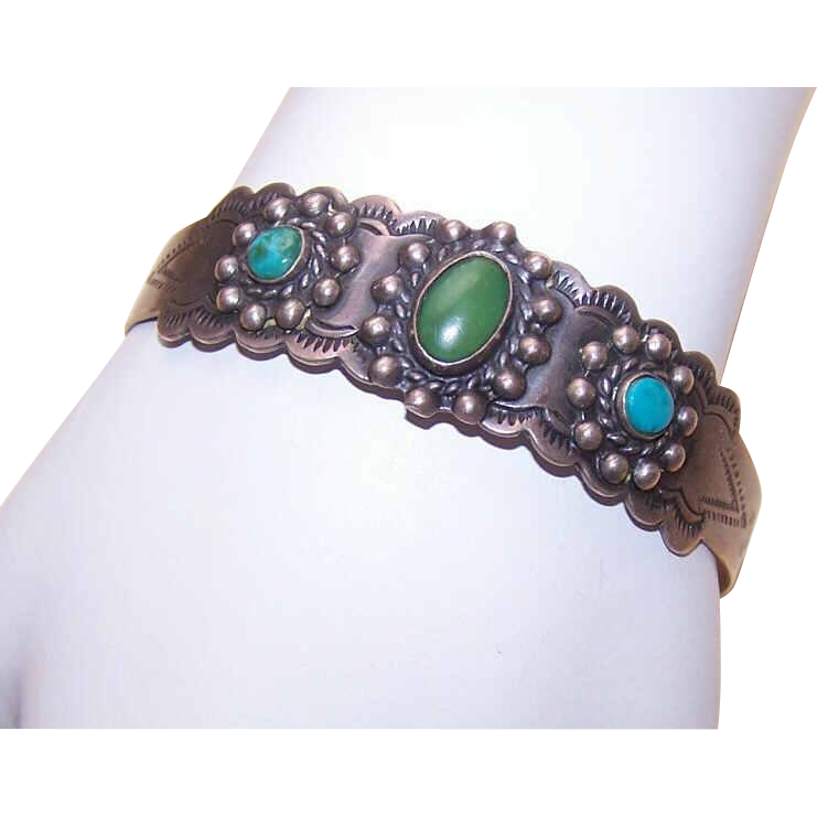Vintage (C.1930) NATIVE AMERICAN Coin Silver & Turquoise Cuff Bracelet!