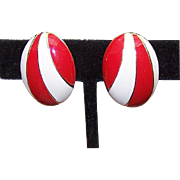 MOD 1960s NAPIER Gold Tone & Red/Cream Enamel Clip Earrings!