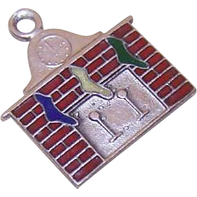 Vintage STERLING SILVER & Enamel Charm - Stockings were Hung by the Chimney with Care!