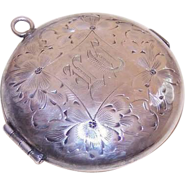 ANTIQUE EDWARDIAN German Silver Locket Pendant - Coin Holder for Nickel & Photo!