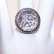 Vintage MEXICAN Sterling Silver Concave Dome Ring - Nicely Etched!