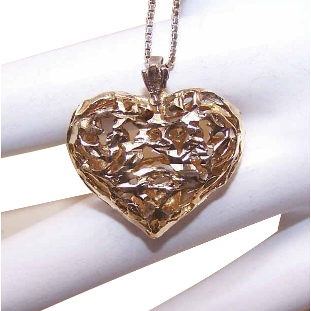 Vintage STERLING SILVER Vermeil Heart Pendant with Italian Chain Necklace