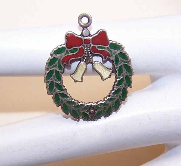 Vintage STERLING SILVER & Enamel Charm - Christmas Wreath!