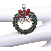 Vintage STERLING SILVER & Enamel Charm - Christmas Wreath!