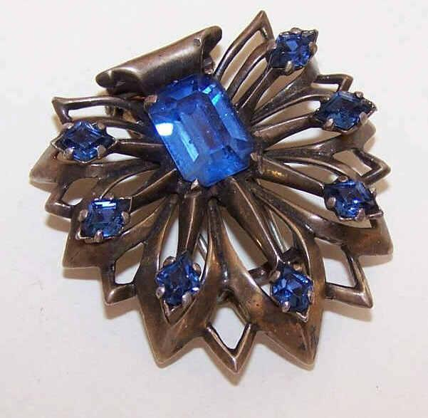 Vintage STERLING SILVER & Blue Rhinestone Fur Clip/Pin!