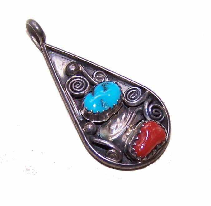 Marie Bahe STERLING SILVER, Turquoise & Coral Pendant - Navaho Design!