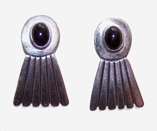 Interesting STERLING SILVER & Black Onyx Earrings!
