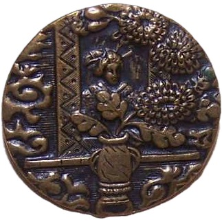 Lovely VICTORIAN Metal Button - Geisha Among Chrysanthemums!