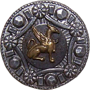 ANTIQUE VICTORIAN Metal Button - Bronze Griffin/Gryphon within a Silvered Border!
