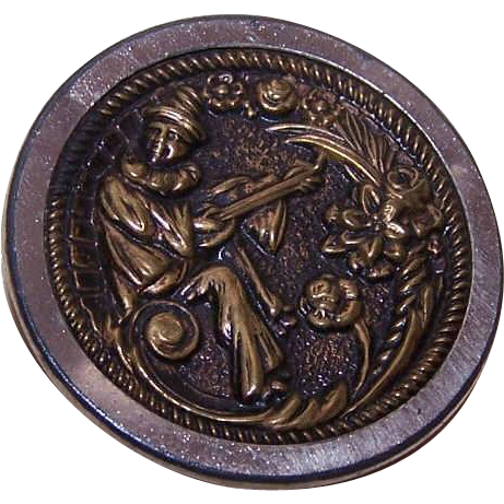 Classic VICTORIAN Metal Button - Pierrot (Clown) Playing a Lute!