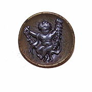 Adorable VICTORIAN Metal Button - Putti/Young Child on a Swing!