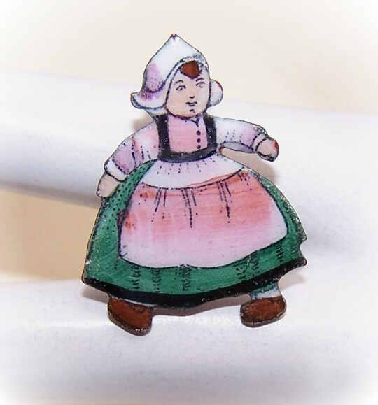 Vintage Copper Enamel Pin from Czechoslovakia - Little Dutch Girl!