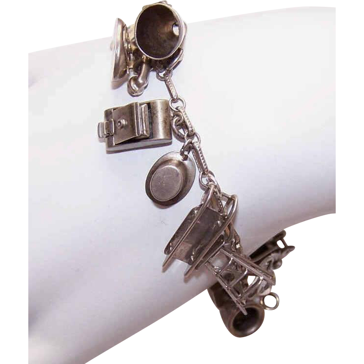 1940s STERLING SILVER Charm Bracelet with 15 Charms - Some Mechanical!