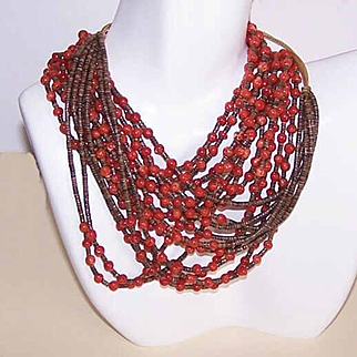 Stunning NATIVE AMERICAN Red Coral & Heishe Shell 6-Strand Necklace!