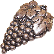 Vintage ART DECO Silverplate Dress Clip/Fur Clip - A Bunch of Grapes!